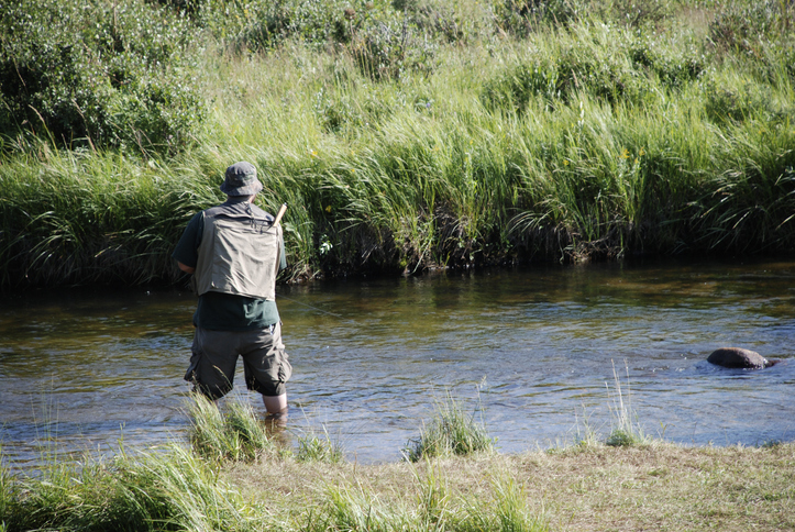 man fishing in river along lush green riverbed in colorado